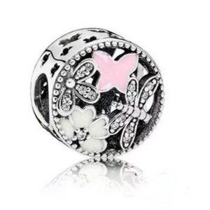 White, Pink & Silver Butterfly Charm, pandoraStyle